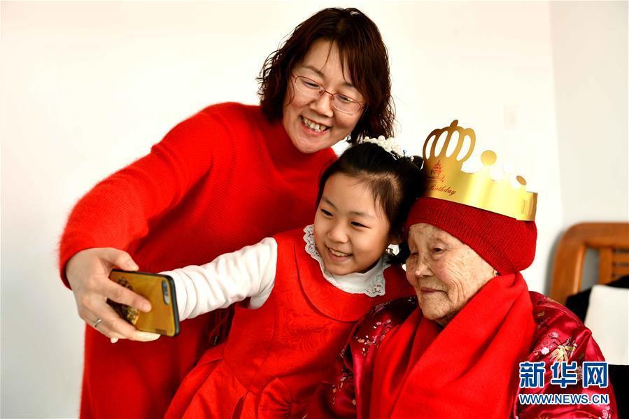 #(新華視界)(3)河北石家莊:老人慶生迎新春