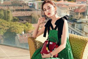 娜扎绿色蕾丝裙 清新灵动美倒你的视觉