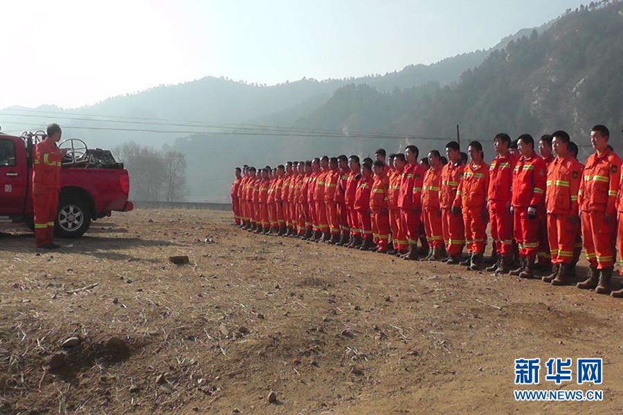 图为阜平县森林消防队.